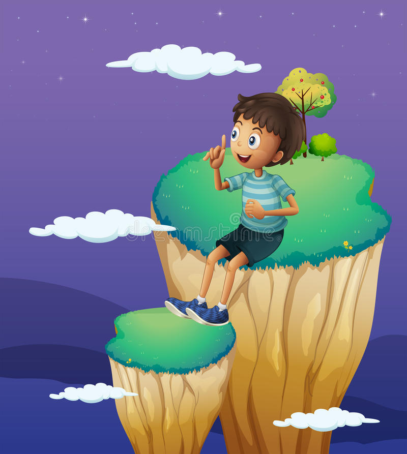 A boy sitting above the high rock formation royalty free illustration