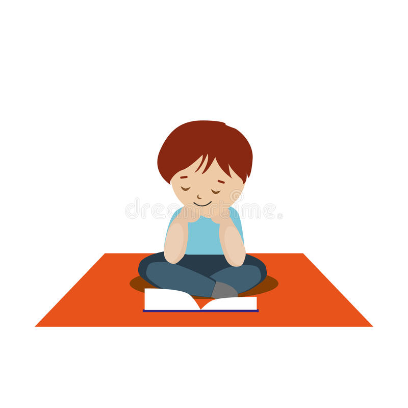 Boy sitting on the carpet and reading a book or tutorial. Cartoon character isolated stock illustration