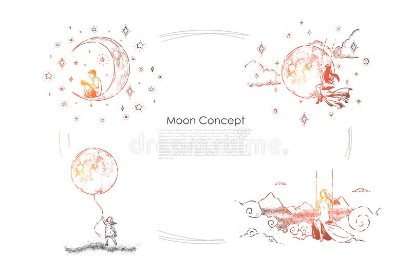 Boy sitting on crescent with book, young women on swings, little girl holding huge moon balloon, imagination banner vector illustration