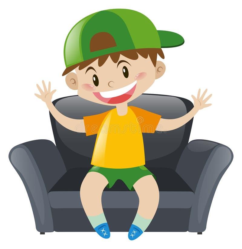 Boy sitting on gray armchair. Illustration vector illustration