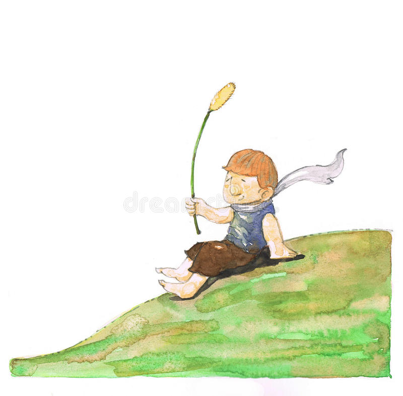 Boy sitting on the hill. The boy relaxing on the hill and take a long breath for calm his emotion stock illustration
