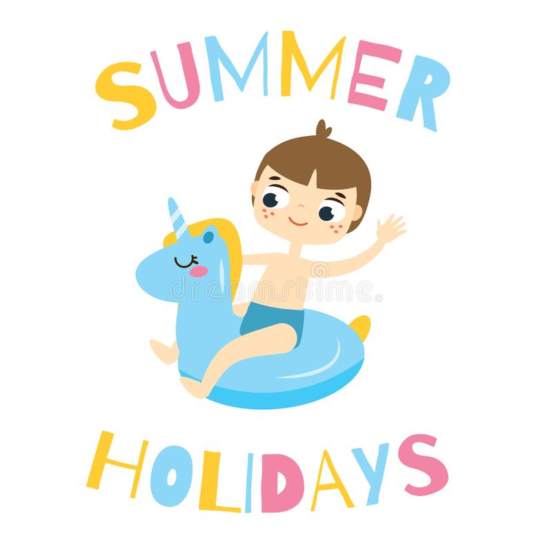 Boy sitting on swimming circle unicorn. Kid having summer holidays fun on inflatable ring vector illustration