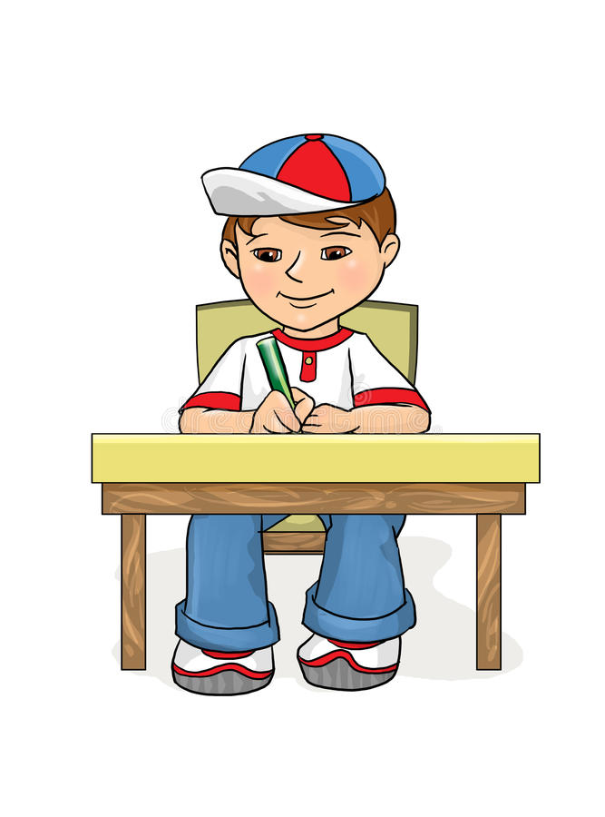 Examination Boy sitting at a table and wrote. Examination Little Boy sitting at a table and wrote in pencil in a notebook And Smiling, age of 5-8 years, in vector illustration