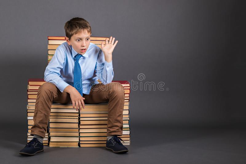 The boy sitting on the throne from the books stock images