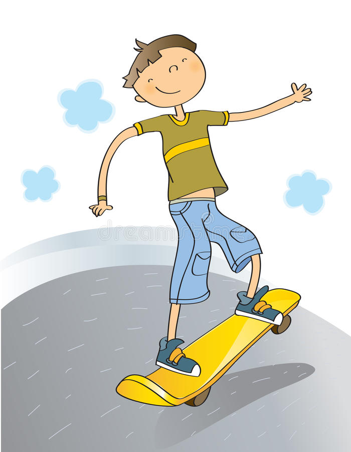Boy with skateboard royalty free illustration