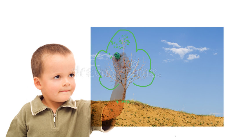 Boy sketching a greener future royalty free stock photos
