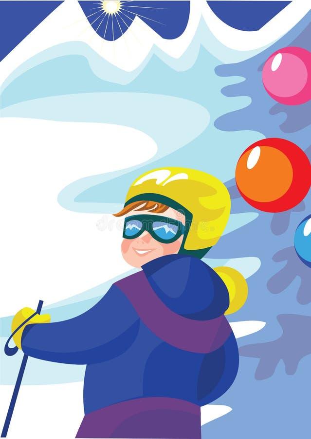Boy_skier lizenzfreie abbildung
