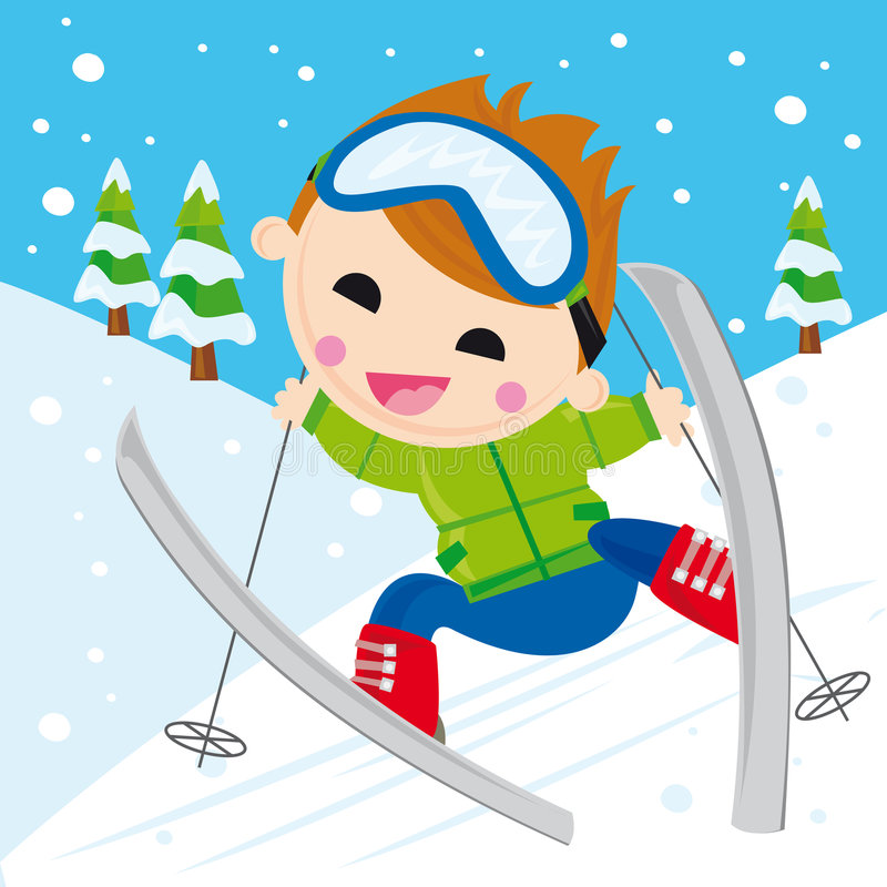 Boy skiing. Illustration of boy skking in the mountain