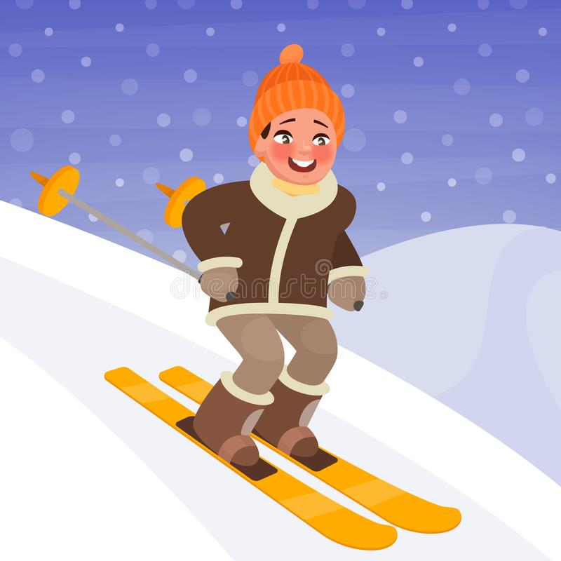 Boy is skiing from the mountain. Winter sports and outdoor activities. Vector illustration vector illustration