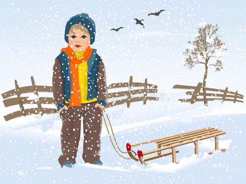 Boy with sledge stock photo
