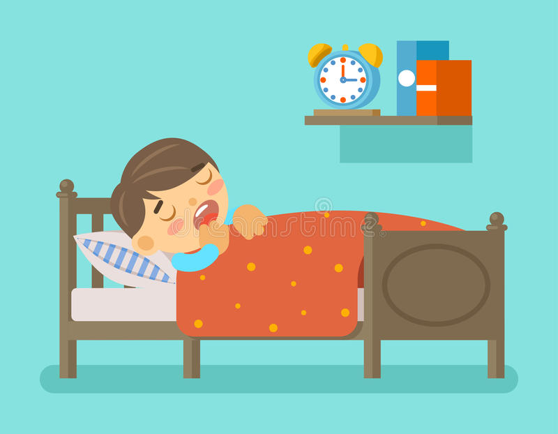 Boy sleeping in the bed stock illustration