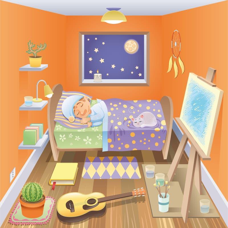 Boy is sleeping in his bedroom. Cartoon and vector scene