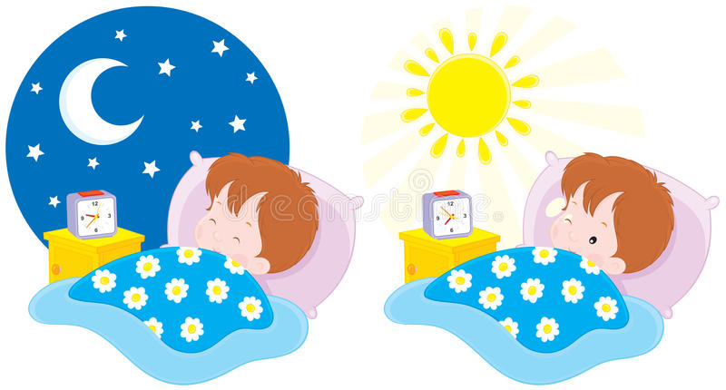 Boy sleeping and waking up. Vector clip-art illustrations of a little boy lying in a bed and sleeping by the night and waking up in the morning vector illustration