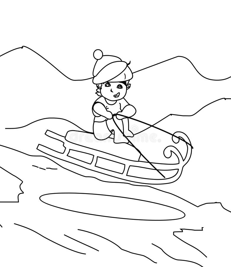 Boy In A Sleigh Coloring Page Stock Illustration Illustration of