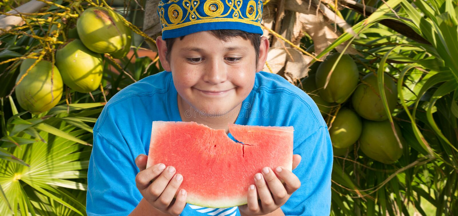 Boy With Fruits Stock Images