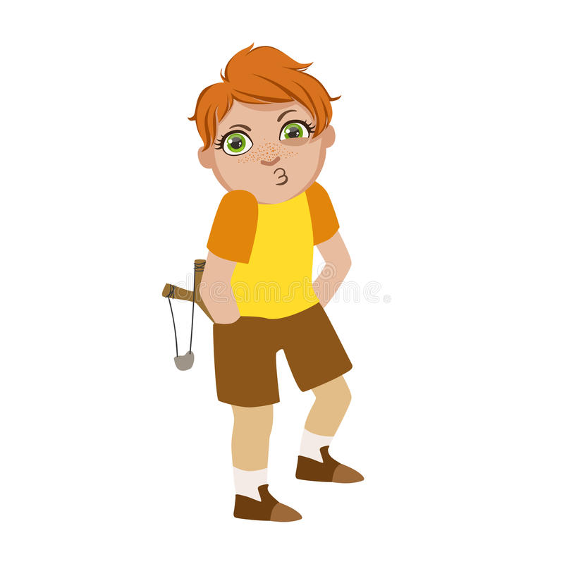 Boy With Slingshot Looking For Trouble, Part Of Bad Kids Behavior And Bullies Series Of Vector Illustrations With. Characters Being Rude And Offensive stock illustration