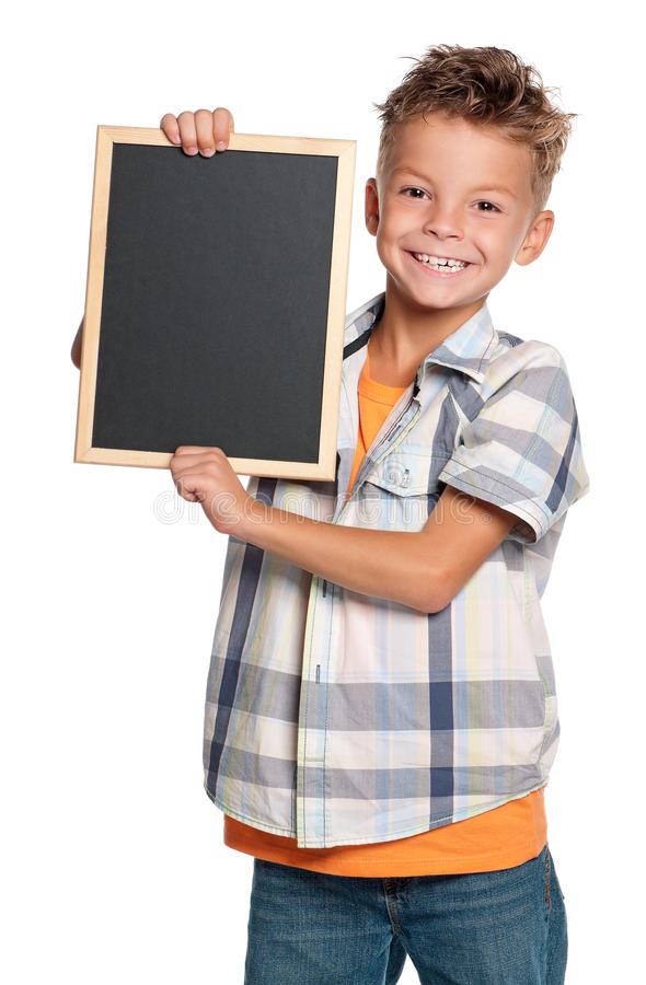 Download Boy with small blackboard stock photo. Image of chalk - 26714906