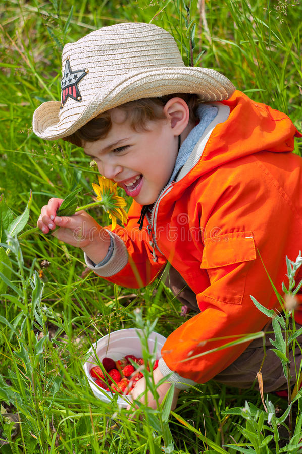 Boy smelling the flower with exhilaration. Three year old boy holding a bucket of strawberrys and smelling the flower with exhilaration stock image