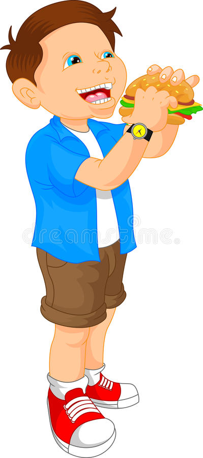 Boy smiling and ready to eat a big hamburger vector illustration