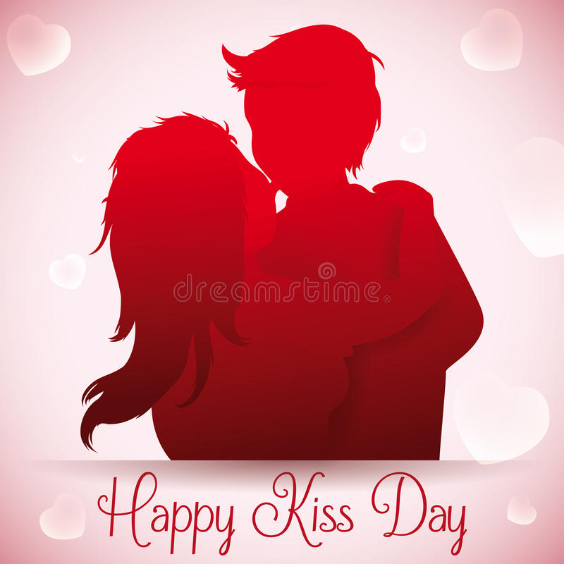 Boy Smooching with her Girlfriend in Kiss Day, Vector Illustration royalty free stock photography