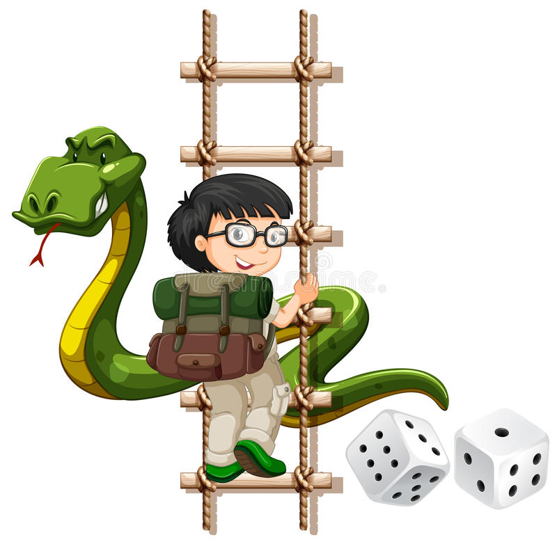 Boy and snake climbing up the ladder royalty free illustration