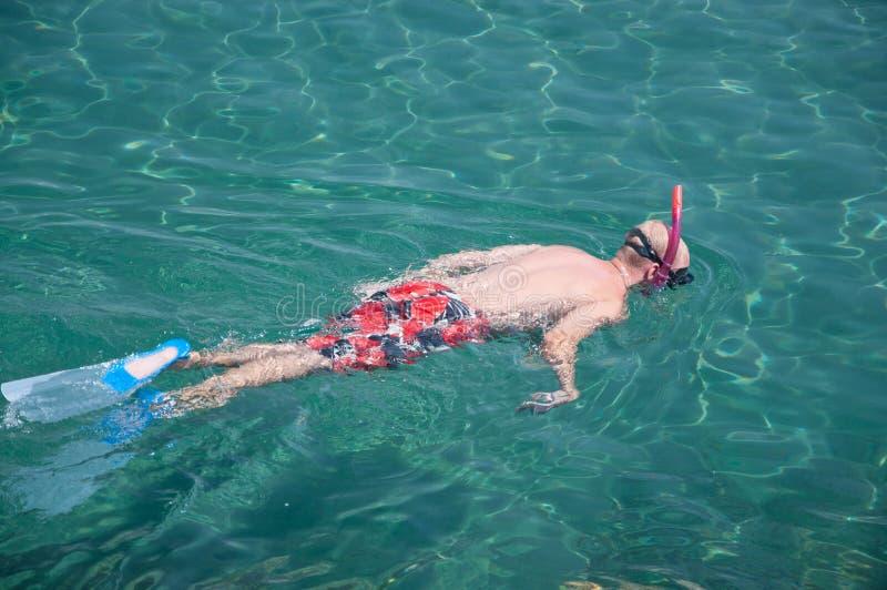 Boy Snorkeling Stock Photos