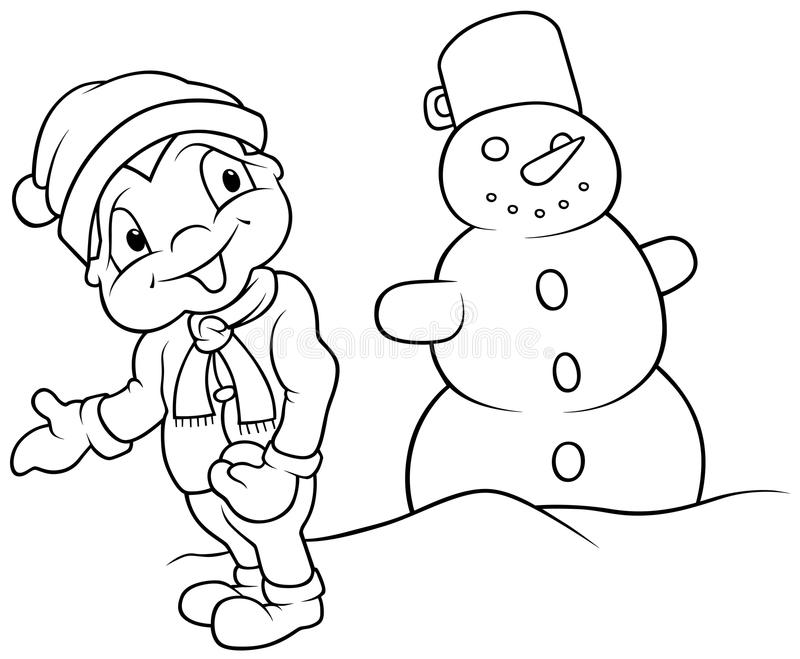 Download Boy And Snowman Stock Image - Image: 17884361