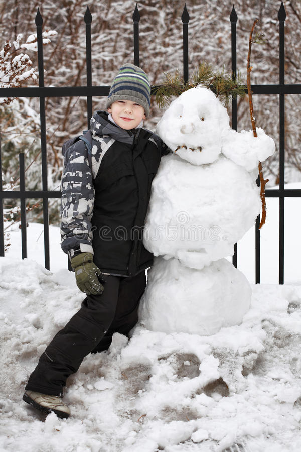 Download Boy and snowman stock image. Image of interesting, winter - 19129735
