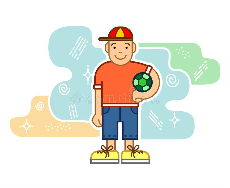 Boy With A Soccer Ball, Cartoon Character. Little Boy Soccer Player In A Baseball Cap, T-shirt, Shorts. For Printing On Fabric, T- vector illustration