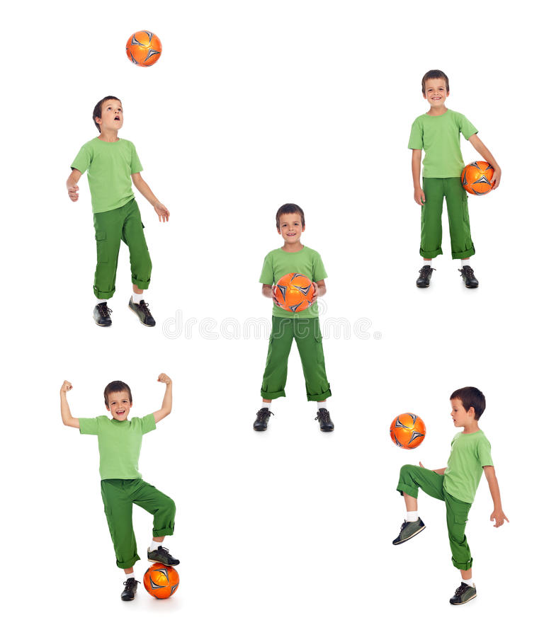 Boy with soccer ball collage. Boy with soccer ball playing - various positions, isolated stock images