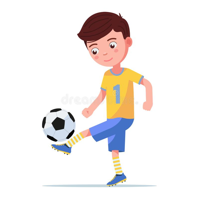Boy soccer player kicking the ball on his leg. Child playing with a football ball. Vector illustration on an isolated white background, flat style vector illustration