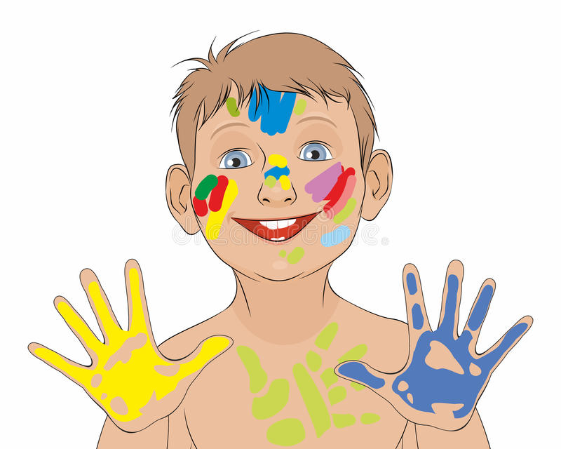 Boy soiled in a paint. Vector illustration of a boy soiled in a paint stock illustration