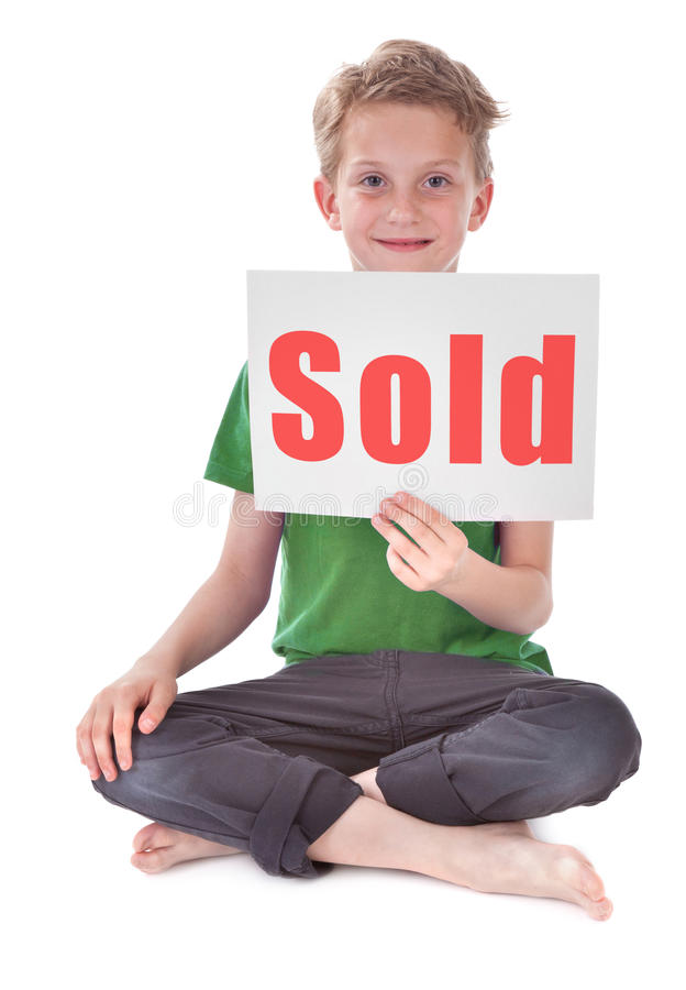 Download Boy with sold inscription stock image. Image of background - 20157149