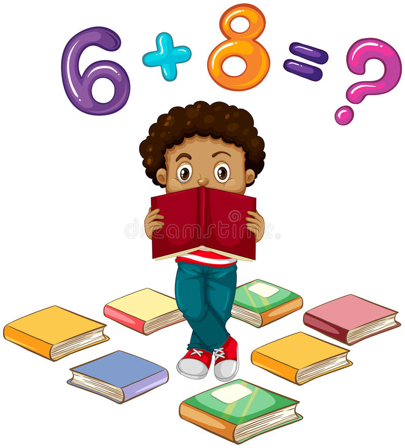 Boy solving math problem stock vector. Illustration of ...