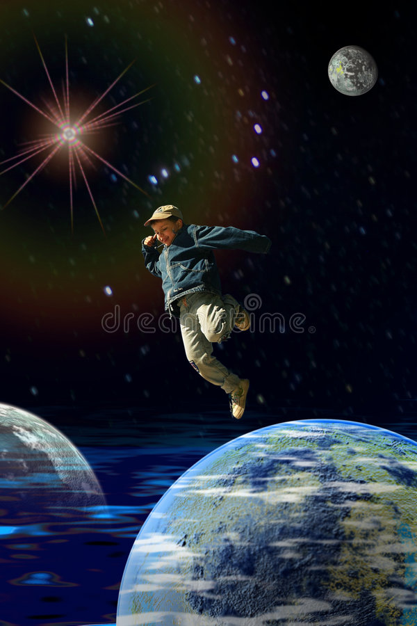 Boy in the space royalty free stock images