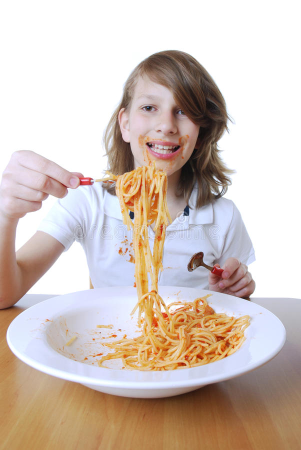 Download Boy with Spaghetti stock photo. Image of childhood, laugh - 19648702