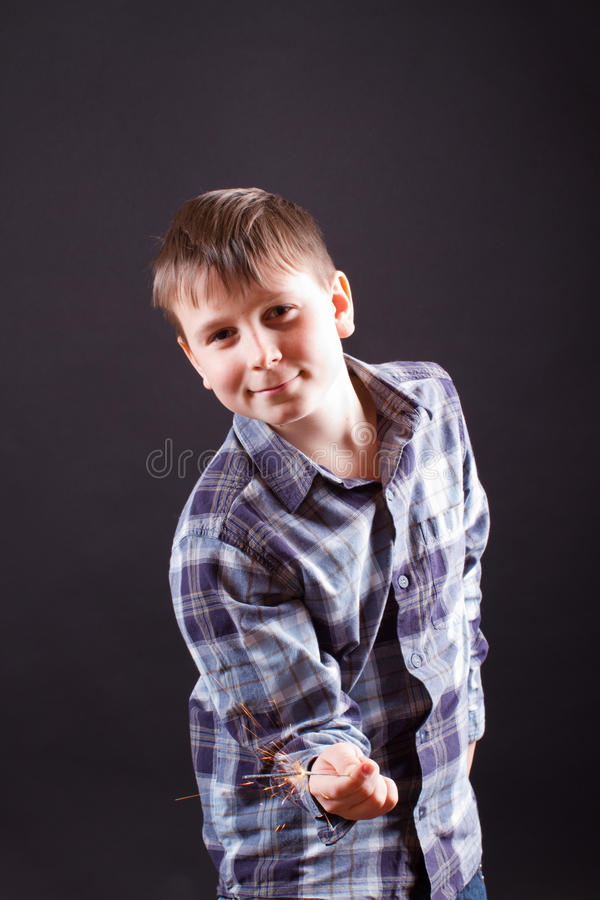 Download Boy with sparklers stock photo. Image of stick, playful - 28438544