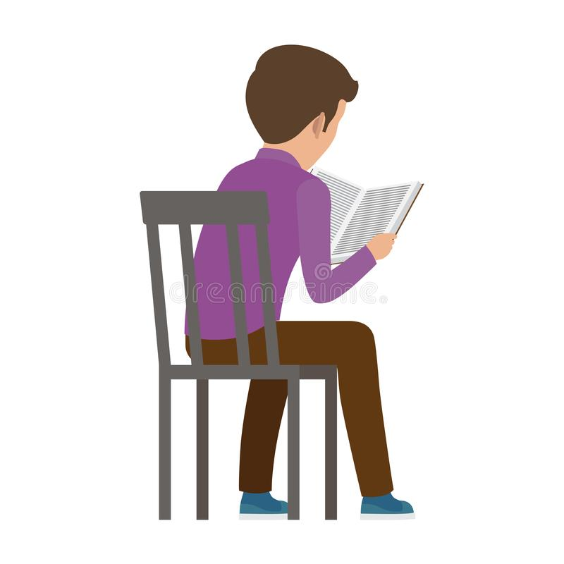 Free Boy Spends Time By Reading Book View From Back Stock Photography - 141642612