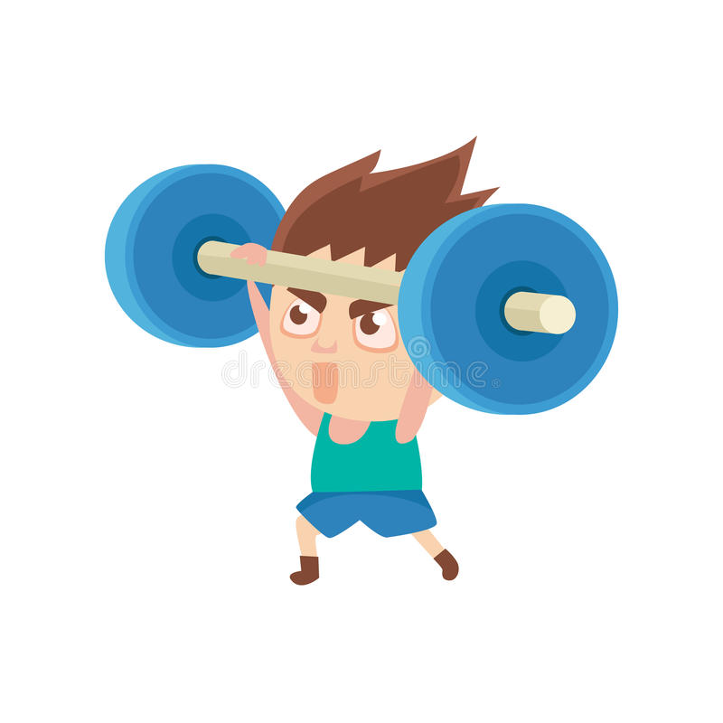 Boy Sportsman Weight Lifting Part Of Child Sports Training Series Of Vector Illustrations. Cute Kid Character And Sportive Practice Cartoon Isolated Icon stock illustration