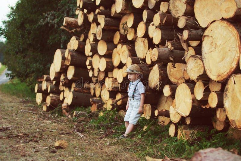 Boy stand near logging stock photography