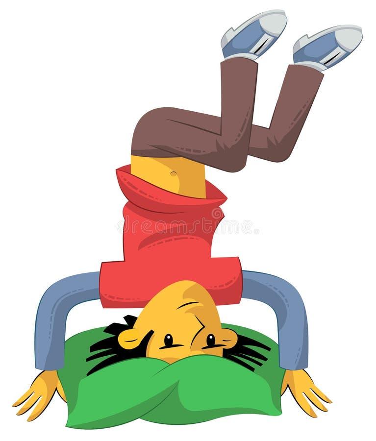 Boy standing on head stock illustration