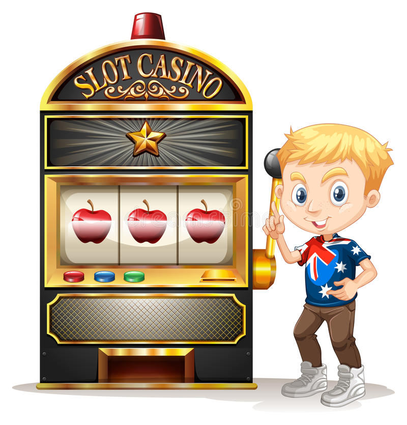 Boy standing next to slot machine vector illustration