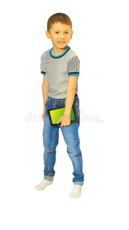 Boy stands with a plane table stock image