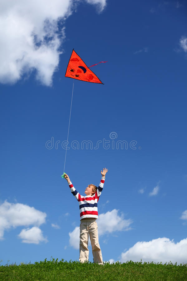 Boy Starts Air Serpent Of Triangular Form In Sky Royalty Free Stock Photo