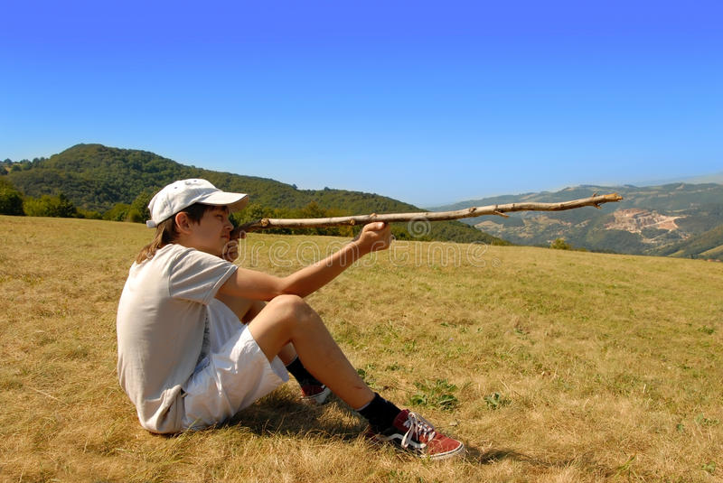 Download Boy With A Stick, Male Games Stock Image - Image: 21286565