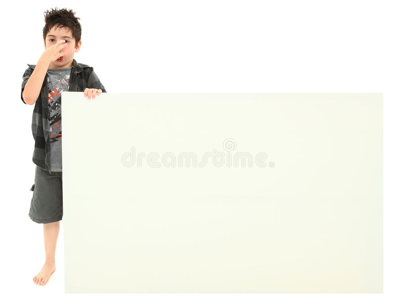 Download Boy With Stinky Face Expression Holding Blank Sign Stock Image - Image of smell, odor: 20007671