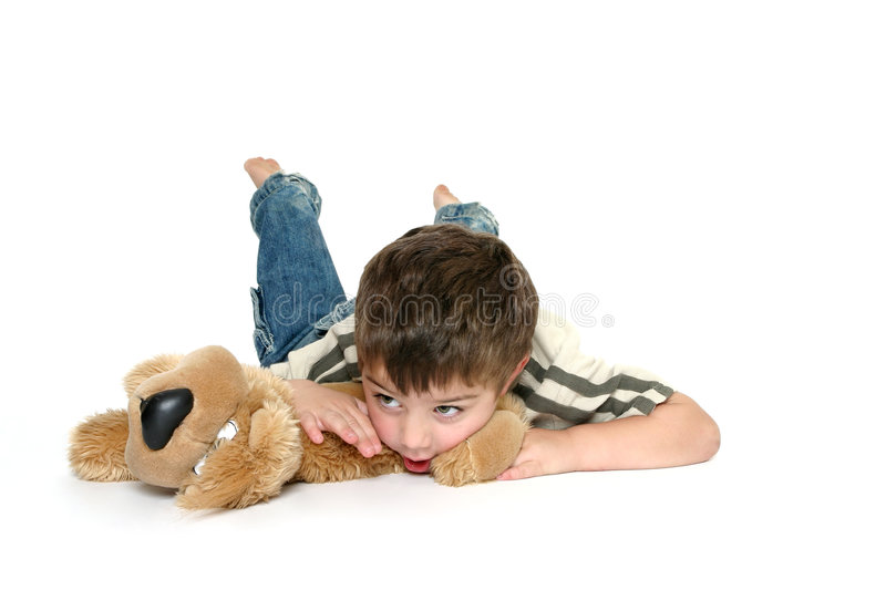 Download Boy on stomach isolated stock image. Image of consider - 1714259