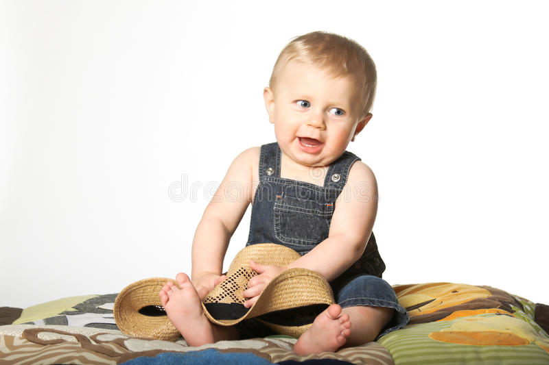 Download Boy with Straw Hat stock image. Image of childhood, straw - 22406051