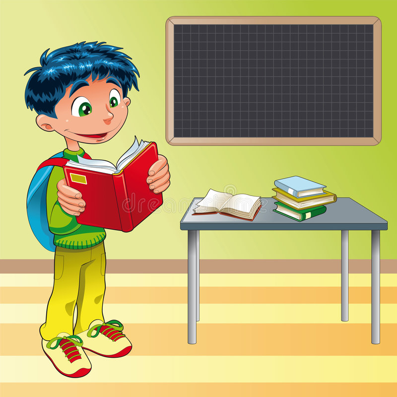 Boy, student in the classroom. Vector image