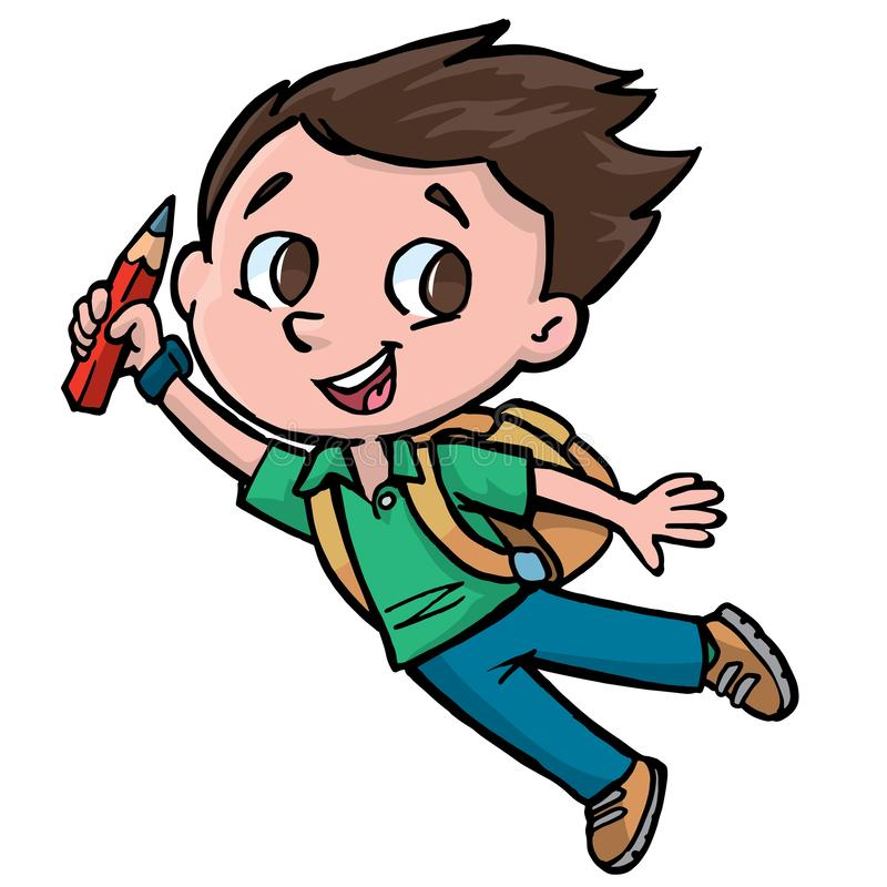 Boy student with pen in hand. Boy student happy fly with pen in hand stock illustration